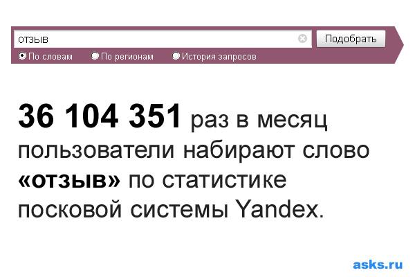 36 104 351 раз в месяц  пользователи набирают слово «отзыв» по статистике посковой системы Yandex.